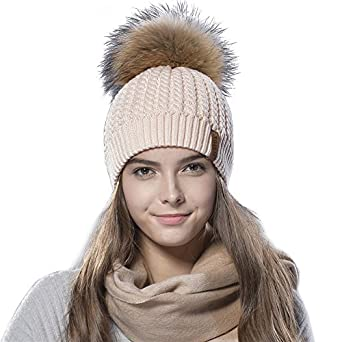 FURTALK Crochet Knit Fur Hat with Real Fox Fur Pom Pom Bobble Winter ...