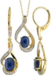 14k Gold Dangle Earrings (19mm tall) & 18 in. Pendant-Necklace Set, w/ 0.20 Carat Brilliant Cut Diamonds & 3.64 Carats Oval Cut (7x5mm) Blue Sapphire Stones