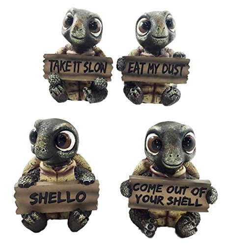 Whimsical Cute Sea Turtles Set of Four Figurine Holding Signs With Funny Sayings - Cute Turtle