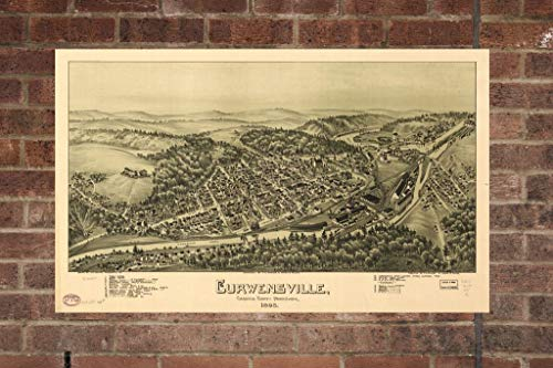 Retro Printing Company Vintage Curwensville Map, Aerial Curwensville Photo, Historical Vintage Curwensville PA, Old Curwensville Photo, Home Decor, Wall Art