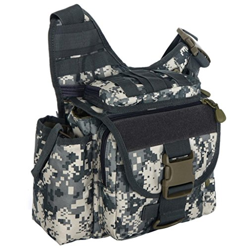 Surenow Military Style Army Backpack Shoulder Messenger Bag Camo Grey