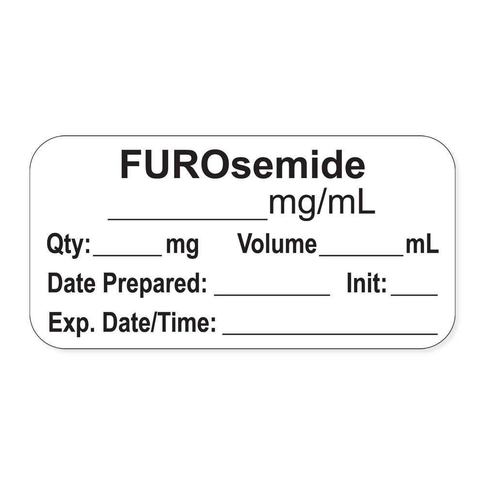 PDC Healthcare LAN-2-134 Anesthesia Label with Exp. Date, Time, and Initial, Paper, Permanent, ''FUROsemide mg/mL'', 1'' Core, 1-1/2'' x 3/4'', 500 per Roll, White (Pack of 500)