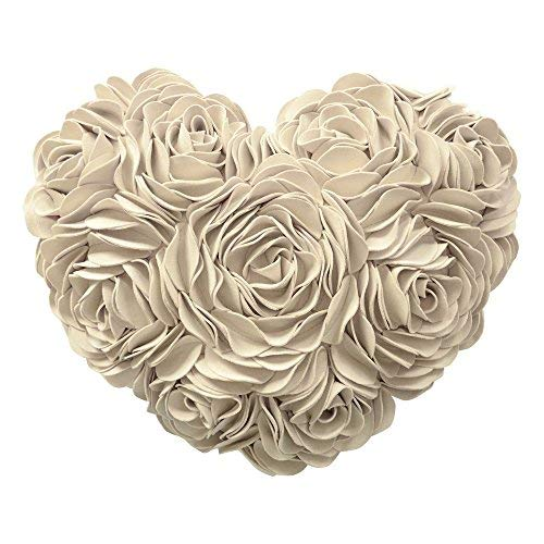 JWH 3D Handmade Rose Flower Accent Pillow Decorative Solid Suede Heart Shape Cushion Home Couch Bed Living Room Office Chair Car Decor Travel Lover Girl Gift 13 x 16 Inch Creamy White