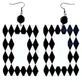 Harlequin Pattern Dangle-Earrings With Bead Accents Black & White Colored #LQE4174
