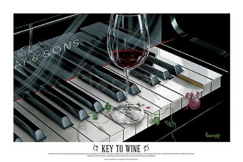 The Key to Wine by Michael Godard Fantasy Wine Piano Music H