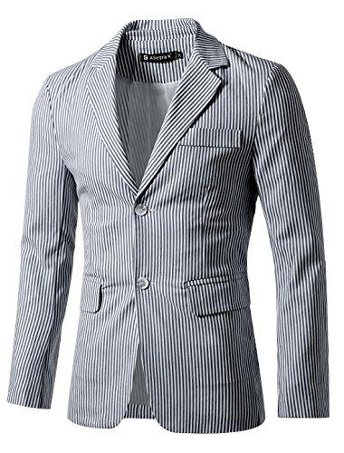 Allegra K Men Vertical Stripes Notched Lapel Flap Pockets Front Blazer Small 38 Navy - Blazer Wool Pocket Flap