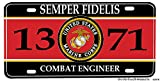 Brotherhood US Marine Corps MOS 1371 Combat Engineer Aluminum License plate