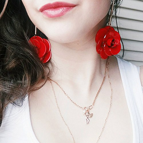 FXmimior Earrings Fashion Women Hot Big Rose Flower Earrings for Christmas Xmas Jewelry for Girl Women (red) - Date Flowers Earrings