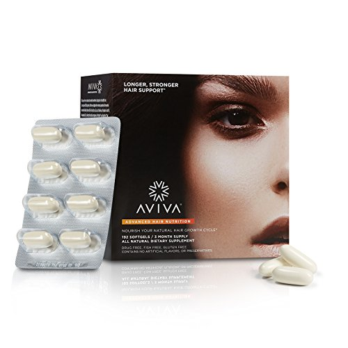Aviva Advanced Hair Nutrition, Hair Growth, and Hair Repair Supplement, 180 Softgels – 3 Month Supply