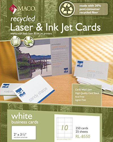 Ink Jet White Business Cards, 2 x 3-1/2 Inches, 10 Per Sheet, 250 Per Box (RL-8550) ()