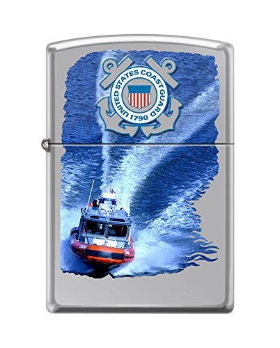 Zippo USCG Seal & Boat High Polish Chrome Pocket Lighter