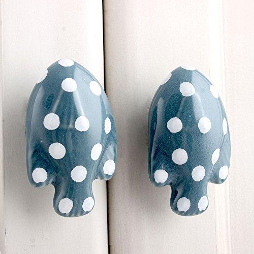 Polka Back Fish - Indianshelf Handmade 16 Piece Ceramic Grey Fish Polka Fauna Drawer/Dresser Knobs (CFK-06)