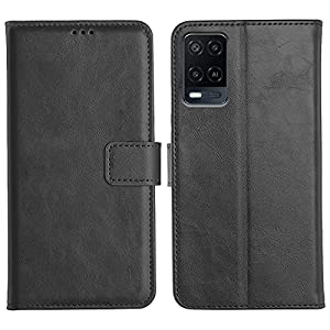 UbrosNetwork Genuine Leather Finish Flip Case Cover for Oppo A54 | Inside Pockets & Inbuilt Stand | Wallet Style Card…