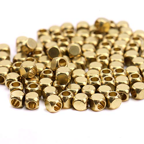 (Monrocco 100 PCS 5mm MetalBrass Square Beads DIY Hole Beads Tube Beads for Jewelry Making)