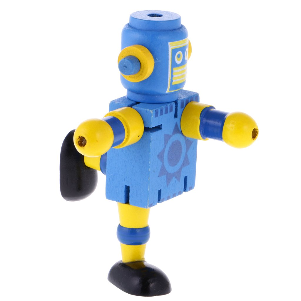 5Pcs Kid Wooden Walnut Joint Robot Figure Toy Christmas Gift Stocking Filler