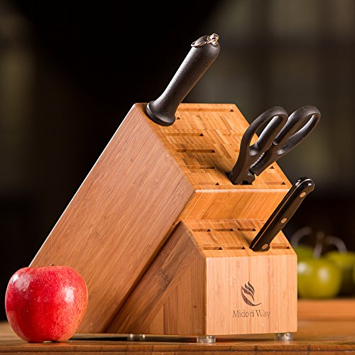 Bamboo Knife Block (Without Knives), Best For Storage Of Your Quality Cutlery. Stylish and Eco-Friendly, This Beautiful & Professional Wooden Block Will Be A Great Kitchen Addition. By Midori Way by Midori Way (Image #3)'