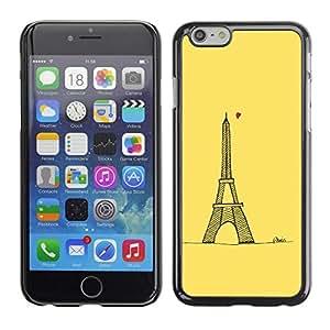 FECELL CITY // Duro Aluminio Pegatina PC Caso decorativo Funda Carcasa de Protección para Apple Iphone 6 // Love Yellow Paris Eifel Tower Tour Heart