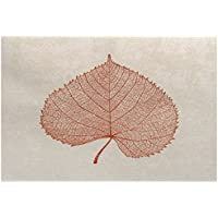 E by design RFN747OR16-23 Leaf Study, Floral Print Indoor/Outdoor Rug, 2 x 3, Rust Orange