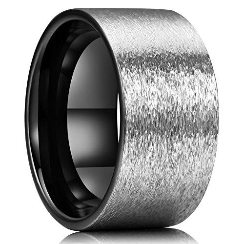 King Will Hammer Unisex 12mm Tungsten Carbide Wedding Ring Black Interior Silver Engagement Band