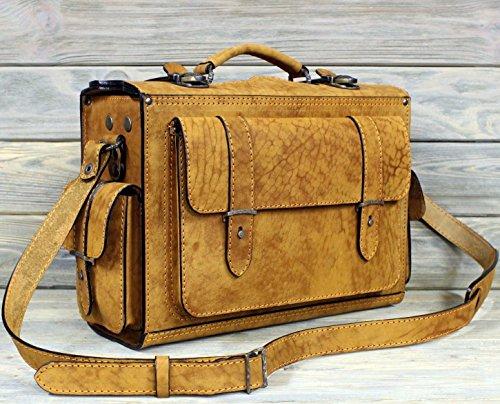 Valise Bag (Fashion Suitcase Handbag Bag Valise for Men. Handmade of Expensive Genuine Leather. For Travel Traveling Trips. (Yellow))