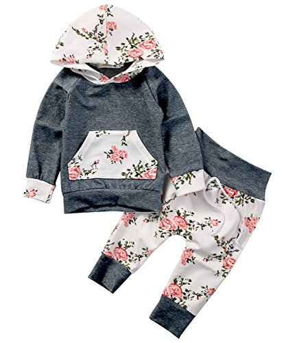 Baby Girls Long Sleeve Flowers Hoodie Top and Pants Outfit with Kangaroo Pocket (90(12-18M), Grey)