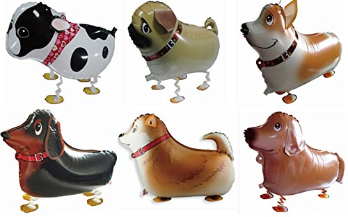 Actopus 6pcs Pet Dog Balloons Walking Animal Balloon Air Walkers Kids Birthday Party Decor 6 Different kinds of Dogs (Party Dog)