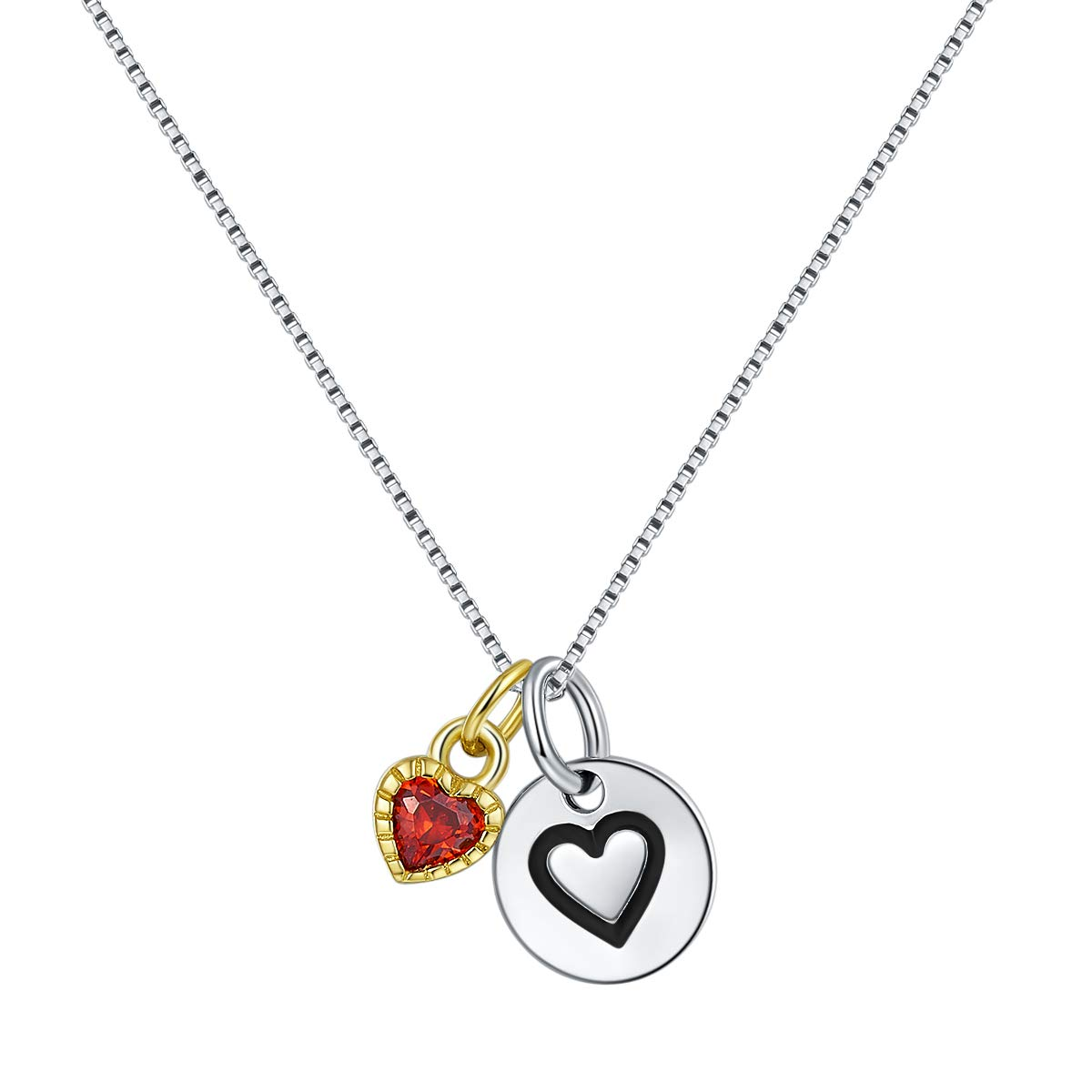 f28a1382a Wellme Sterling Silver Love Heart Coin Disc and Gold Plated Cubic Zirconia Red  Heart Charm Pendant with 18'' Box Chain Necklace