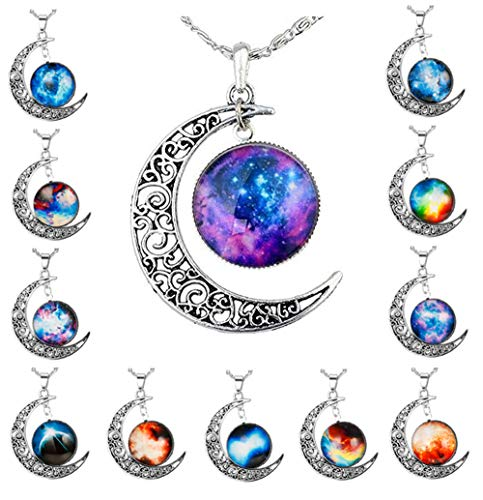 Half Moon Charm - LOLIAS 12 Pcs Crescent Moon Pendant Necklaces for Women Girls Gifts Jwelry