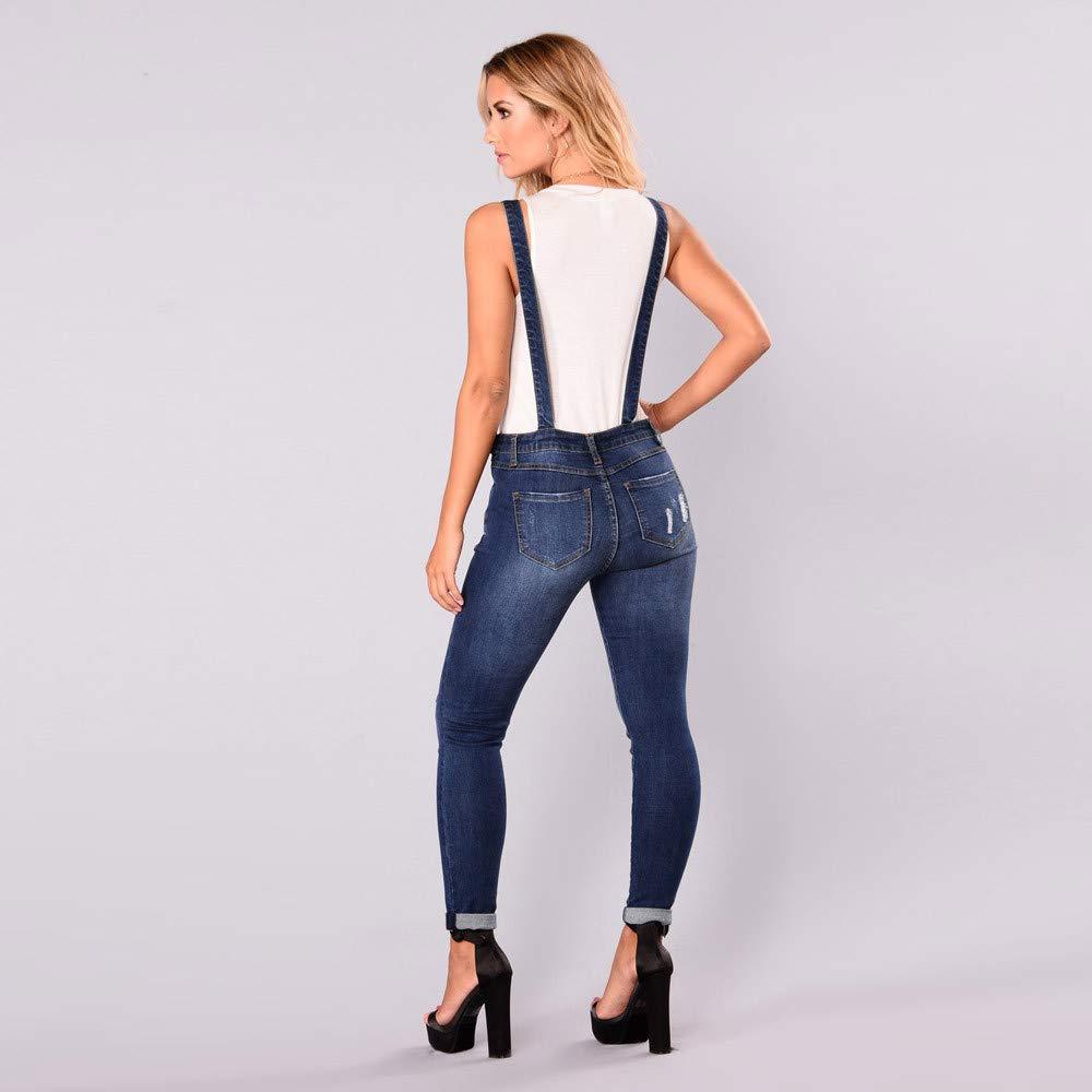 3a2442bc83af LUBITY Combinaison Femme Grande Taille Haute Casual Sexy Trou Long Réglable  Denim Poche Bouton Sangle Slim Dungarees Jumpsuit  Amazon.fr  Vêtements et  ...