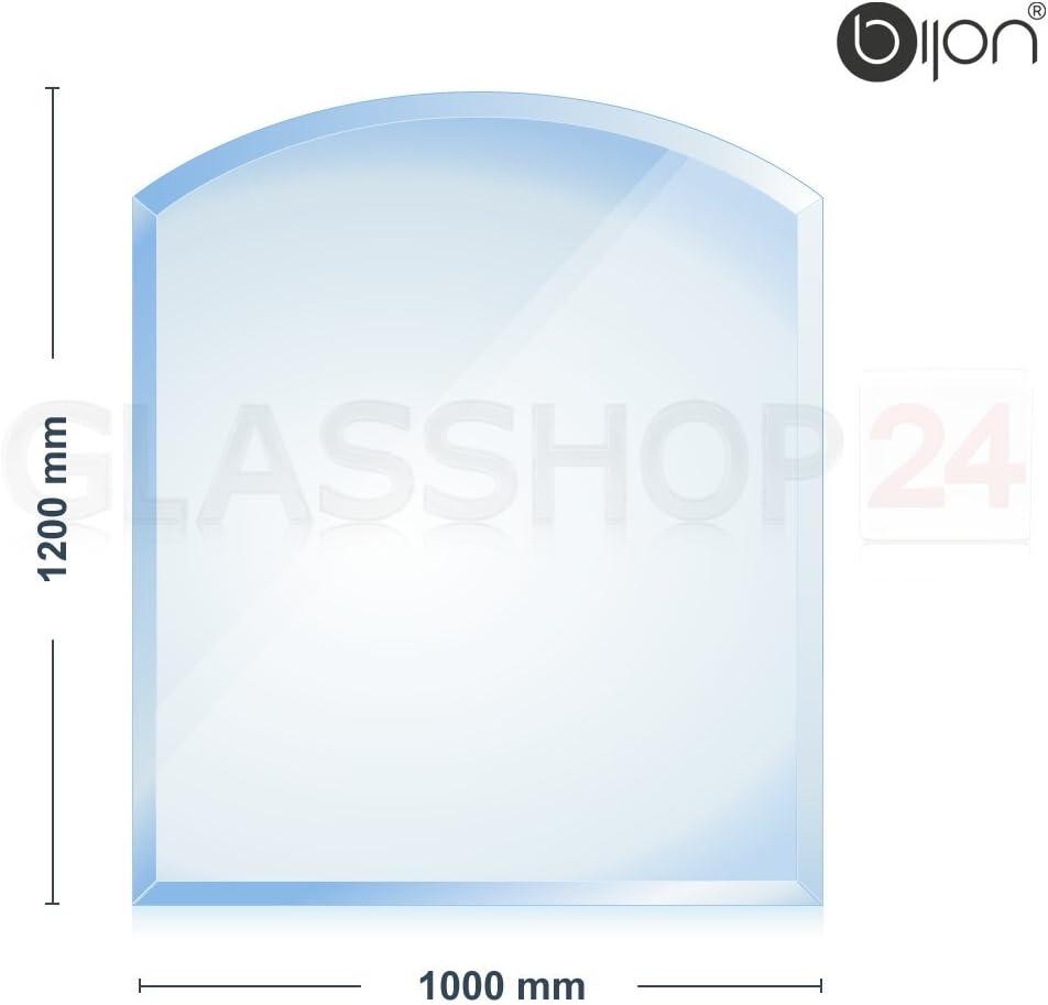 Rechteck 500x1000mm Bijon/® con biselado de 18/mm Placa de vidrio de 6/mm para chimenea