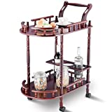 lunanice Kitchen Serving Bar Cart Trolley Wood 2 Tier Rolling Wine Rack Stand Cherry