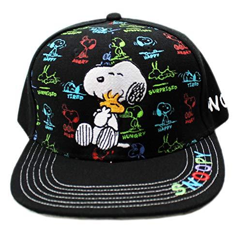 Snoopy Hugging Woodstock Snoopy Emotion Spectrum Black Velcro Adjustable Cap -