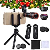 Cell Phone Camera Zoom Lens Kit - EZVING 4 in 1 HD 12X Optical Telescope Zoom Lens+Fisheye+Wide Angle+Macro Lens with Universal Clip Tripod for iPhone 6/7/6s Plus/SE, Samsung,LG and Most phones
