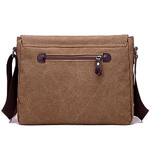 ELEOPTION Men's Canvas Messenger Backpack Crossbody Shoulder Bag for Working Business Hiking Laptop School Rucksack with Pockets from Eleoption