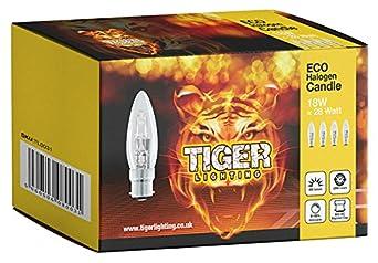 4 Pack 18 W C35 (BC) Bayonet Cap (B22) ECO Halogen Dimmable Candle Light Bulb, 18Watt Equivalent to 25Watt, 2000 Hours Long Life Halogen Light Bulbs, 205 Lumens Output.