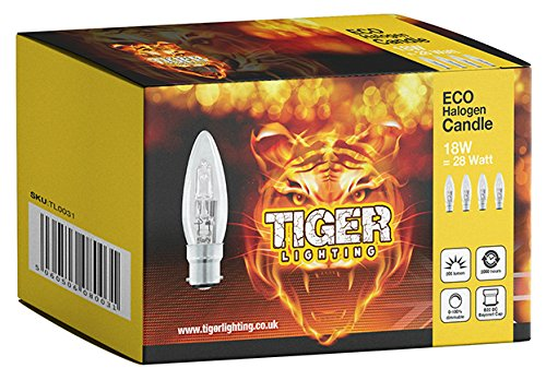 8 Pack 18 W C35 (BC) Bayonet Cap (B22) ECO Halogen Dimmable Candle Light Bulb, 18Watt Equivalent to 25Watt, 2000 Hours Long Life Halogen Light Bulbs, 205 Lumens Output. TIGER LIGHTING