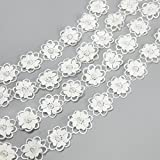 Embroidered Flower Lace Trims with Pearl on Organza Applique 5 yards for Wedding,Sewing DIY Craft Ribbon (Double Layer)