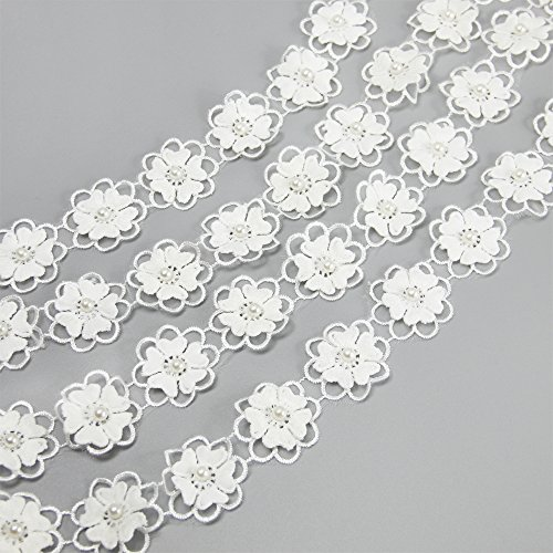 5 yards Embroidered Flower Lace Trims with Pearl on Organza Applique for Wedding,Sewing DIY Craft Ribbon (Double Layer)