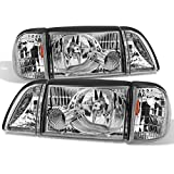 For Mustang Clear Headlights Headlamps w/Corner & Parking Lights 6Pcs Complete Replacement Pair Set