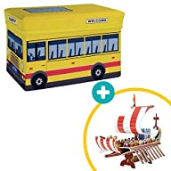 2-in-1 School Bus Toy and Foldable Storage Box with Free 3D Puzzle of Adventure Ship. Easy to Set Up…