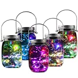 Solar Mason Jar Lights, Wide Mouth Bottle With 10 LED Lids String Twinkle Starry Fairy Garden Outdoor Patio Pendant Decor For Holiday Party Yard Garden Tree Colorful 5 PACK
