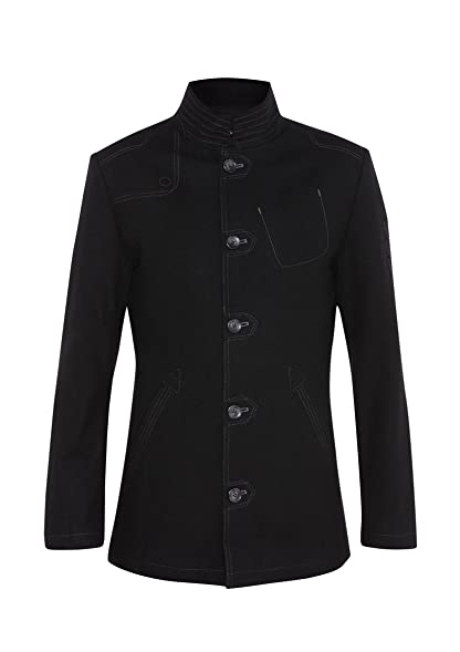 MENS WOOL BLEND SINGLE BREASTED MILITARY STYLED COAT - BLACK ...