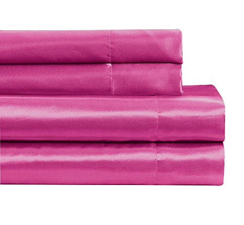 Fancy collection 4 pc Satin Sheet set Super soft New (Full, Hot (Soft Pink Satin)