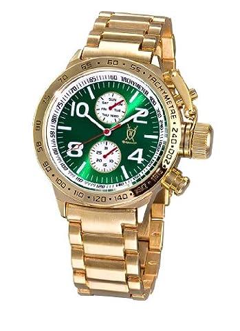 Konigswerk Mens Gold Tone Wrist Watch Metal Band Green Dial Large Face Multifunction Day Date (Gold Tone Metal Watch)