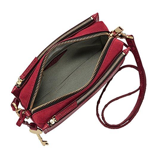 Fossil Damen Tasche Campbell - Crossbody - Bolsos bandolera Mujer Rojo (Red Velvet)