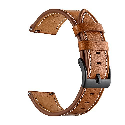 GOSETH Compatible Gear Sport Band, Galaxy Watch (42mm) Band, 20mm Genuine Leather Replacement Buckle Strap Compatible Samsung Gear Sport/Galaxy 42mm/Garmin Vivoactive 3/TicWatch E(Leather Brown)