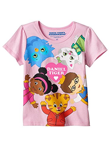 Daniel Tiger Girls Short Sleeve Tee (3T, Daniel Tiger Pink) ()