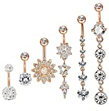 6pcs Dangle Belly Button Rings for Women Girls CZ Navel Rings Body Piercing Jewelry