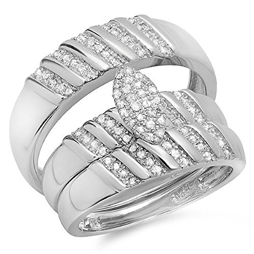Dazzlingrock Collection 0.35 Carat (ctw) White Diamond Men And Womens Micro Pave Engagement Ring Trio Set 1/3 CT, Sterling Silver ()