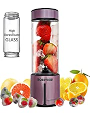 ROSEVIEW Portable Blender Smoothy blenders Glass Bottle battery powered Smoothie Mini Juicer Smoothies Mixer Maker Cordless juicer jar handheld Travel Fruit Personal mixeur Cup melangeur Shake USB Rechargeable (Purple)
